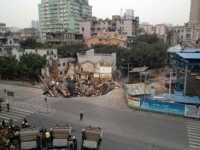 广州50平米地面突然塌陷9米 广州塌陷
